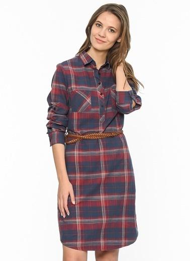 Lee Cooper Kare Desenli Gömlek Elbise Bordo